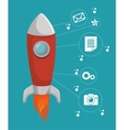Start up media network icons vector image