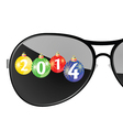 sunglasses with 2014 year color vector image vector image