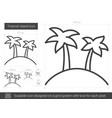 tropical island line icon vector image vector image