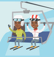 two african-american skiers using cableway vector image vector image