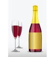 wine glass with bottle vector image vector image