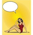 Woman in swimsuit on a beach Summer concept vector image