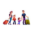 young family with luggage bags traveling tourism vector image