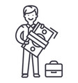 man with big money and suitcase line icon vector image