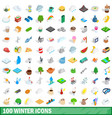 100 winter icons set isometric 3d style vector image vector image