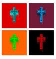 Assembly flat icons cross the blood