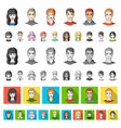 avatar and face cartoon icons in set collection vector image vector image