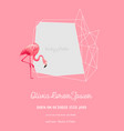 baby arrival announcement with flamingo vector image vector image