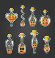 big set of bottle elixir with halloween pumpkin vector image