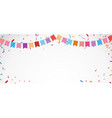 birthday celebration banner with colorful bunting vector image vector image