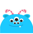 blue monster head with ears tooth and horns black vector image
