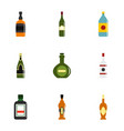 bottle forms icon set flat style vector image vector image
