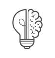 brain idea icon light bulb with brain vector image vector image