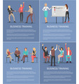 business training posters set with leader workers vector image