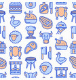 butcher shop seamless pattern with thin line icons vector image vector image