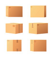 carton packages with adhesive type set vector image vector image