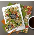 Cartoon hand-drawn doodles italian food corporate vector image vector image