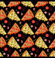 cartoon pizza slices and ingredients seamless vector image