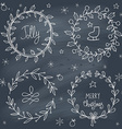 Christmas wreaths set on blackboard vector image vector image