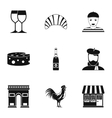 Country of France icons set simple style vector image vector image