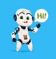 cute robot girl say hi isolated icon on blue vector image vector image
