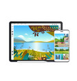 digital tablet and smartphone with beautiful vector image