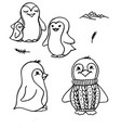 doodle penguins cute black outline vector image vector image