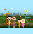 family with playground on background vector image vector image