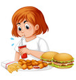 fat girl eating fast food vector image