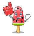 foam finger ice cream watermelon on shape mascot vector image vector image