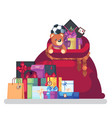 full bag of gifts from santa claus christmas vector image vector image