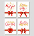 gift cards with festive red ribbons and bows vector image