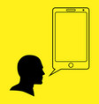 graphic of a human head and smart phone vector image vector image