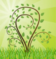 green background with tree drawing vector image vector image