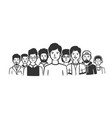 group men standing shoulder to shoulder vector image