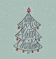 hand drawn typographic poster merry christmas vector image