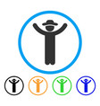 hands up gentleman rounded icon vector image vector image