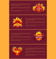 hot barbeque party posters set burn badges vector image