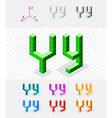 Isometric font from the cubes Letter Y vector image vector image