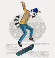 jumping ring-tailed lemur with a skateboard vector image vector image
