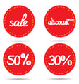 labels sale discount -50 -30 retro vector image