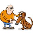 man and dog cartoon vector image vector image