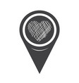 map pointer heart icon vector image