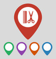 map pointer with hair salon icon vector image
