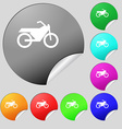 Motorbike icon sign Set of eight multi colored vector image vector image