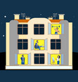 people in windows an apartment building vector image vector image