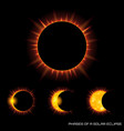 phases of the total solar eclipse on dark vector image vector image