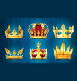 realistic royal crown king jewels monarchs vector image
