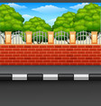 scenery of a street with brick fences and green pl vector image