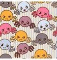 Seamless kawaii cartoon pattern with cute spiders vector image